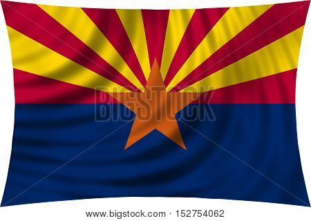 Flag of the US state of Arizona. American patriotic element. USA banner. United States of America symbol. Arizonian official flag waving isolated on white 3d illustration