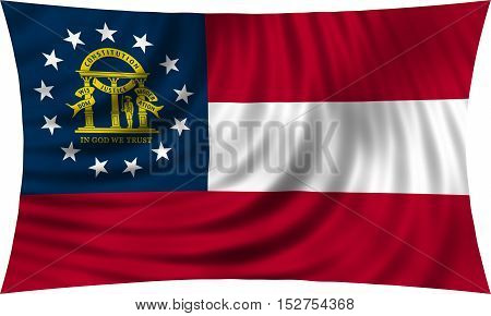 Flag of the US state of Georgia. American patriotic element. USA banner. United States of America symbol. Georgian official flag waving isolated on white 3d illustration