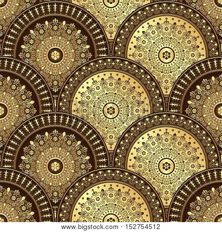 Gold and brown seamless pattern with shiny gradient vintage circles vector