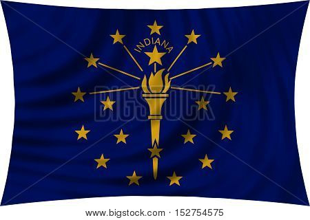Flag of the US state of Indiana. American patriotic element. USA banner. United States of America symbol. Indianian official flag waving isolated on white 3d illustration