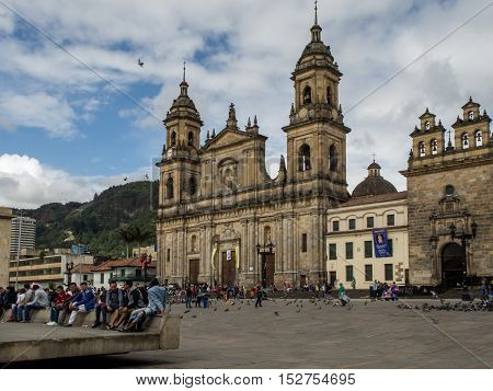 Bogota Colombia - May 01 2016: Pigeons and tourists on Bolivar Square in Bogota