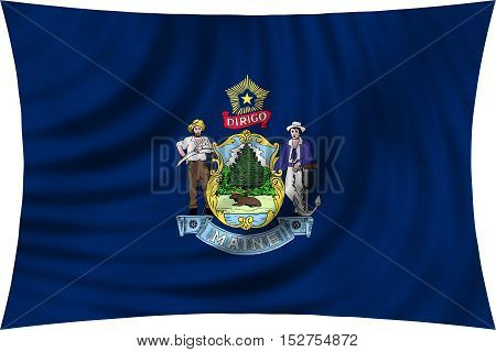 Flag of the US state of Maine. American patriotic element. USA banner. United States of America symbol. Mainer official flag waving isolated on white 3d illustration