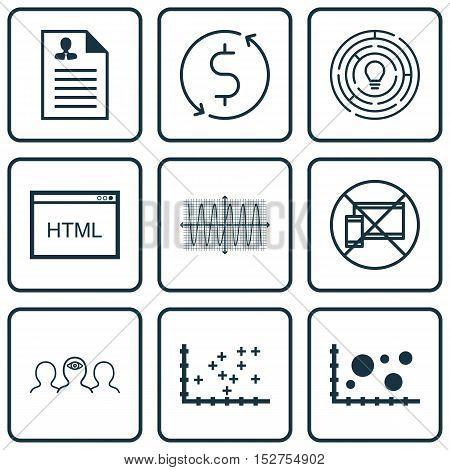 Set Of 9 Universal Editable Icons For Airport, Statistics And Human Resources Topics. Includes Icons
