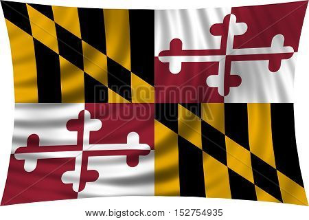 Flag of the US state of Maryland. American patriotic element. USA banner. United States of America symbol. Maryland official flag waving isolated on white 3d illustration