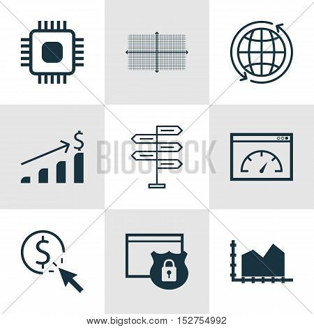 Set Of 9 Universal Editable Icons For Statistics, Computer Hardware And Human Resources Topics. Incl