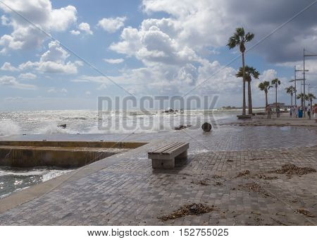 Phapos promenade in Cyprus,on a stormy day in the summer