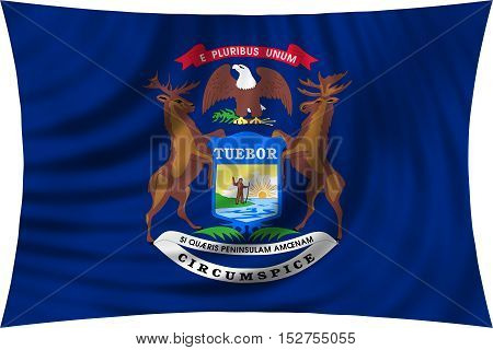 Flag of the US state of Michigan. American patriotic element. USA banner. United States of America symbol. Michiganian official flag waving isolated on white 3d illustration