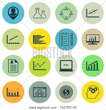Set Of 16 Universal Editable Icons For Advertising, Marketing And Seo Topics. Includes Icons Such As