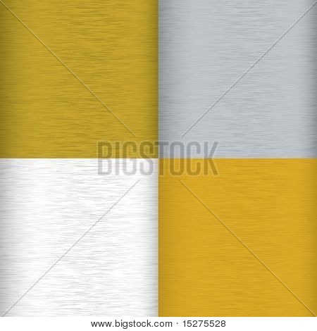 Four brushed metal background surfaces with color variation and grain