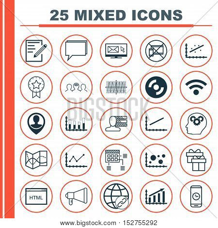 Set Of 25 Universal Editable Icons For Computer Hardware, Human Resources And Statistics Topics. Inc