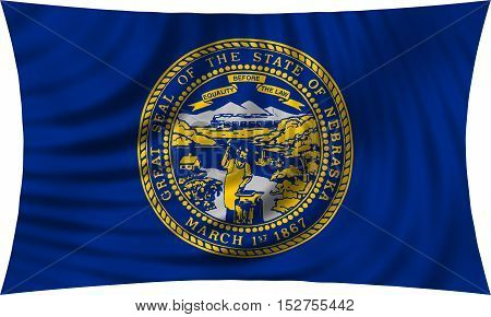 Flag of the US state of Nebraska. American patriotic element. USA banner. United States of America symbol. Nebraskan official flag waving isolated on white 3d illustration