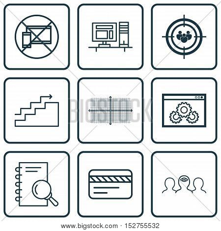 Set Of 9 Universal Editable Icons For Marketing, Advertising And Airport Topics. Includes Icons Such