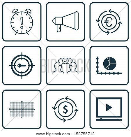 Set Of 9 Universal Editable Icons For Project Management, Advertising And Travel Topics. Includes Ic