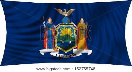 Flag of the US state of New York. American patriotic element. USA banner. United States of America symbol. New Yorker official flag waving isolated on white 3d illustration