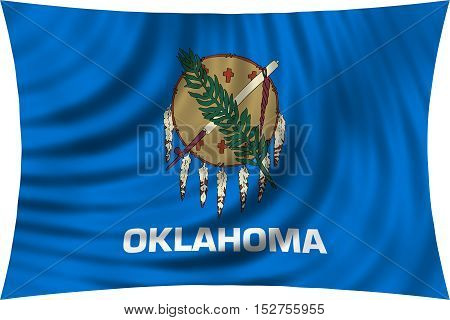 Flag of the US state of Oklahoma. American patriotic element. USA banner. United States of America symbol. Oklahoman official flag waving isolated on white 3d illustration