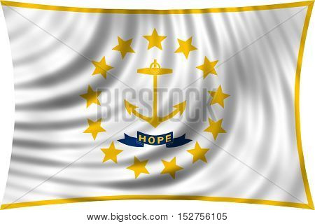 Flag of the US state of Rhode Island. American patriotic element. USA banner. United States of America symbol. Rhode Islander official flag waving isolated on white 3d illustration