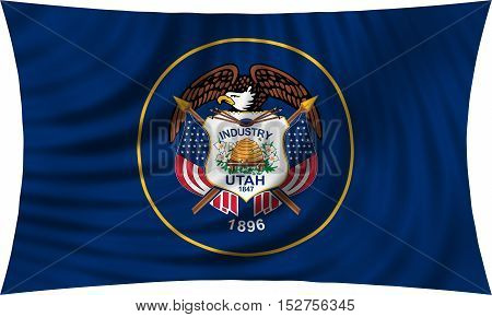 Flag of the US state of Utah. American patriotic element. USA banner. United States of America symbol. Utahn official flag waving isolated on white 3d illustration