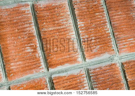 Red brick wall closeup. Vintage texture Background