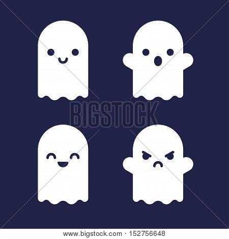 Cute Halloween cartoon ghosts. Flat vector icon set.