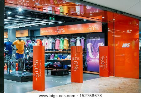 Vilnius, Lithuania - July 08, 2016: The Entrance To Nike Store At Acropolis Shopping Centre At Period Of Discounts And Sales