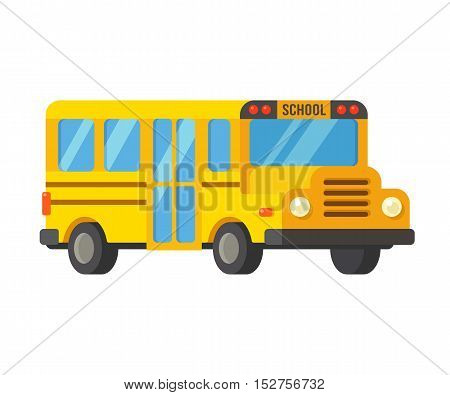 Bright yellow cartoon school bus illustration in simple flat vector style.