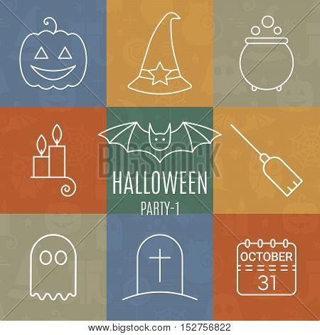 Halloween linear icons set with editable stroke on colorful background for holiday design. Line pictograms of bat, ghost, pumpkin, potion, calendar, broom, hat, candle, tombstone. Vector illustration.