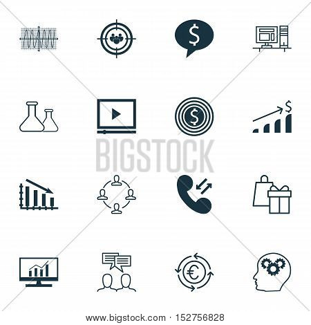 Set Of 16 Universal Editable Icons For Marketing, Project Management And Human Resources Topics. Inc