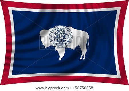 Flag of the US state of Wyoming. American patriotic element. USA banner. United States of America symbol. Wyomingite official flag waving isolated on white illustration