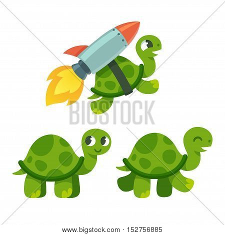 Cute cartoon turtle set. Standing walking and rocket flying. Funny vector illustration.