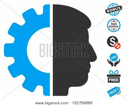 Android Head pictograph with free bonus design elements. Vector illustration style is flat iconic symbols, blue and gray colors, white background.