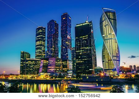 Buildings Of Moscow City Complex Of Skyscrapers At Evening In Moscow, Russia. Business Center Of Modern Moscow