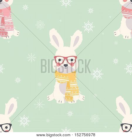 Seamless Merry Christmas patterns with cute polar rabbit animals vector illustration