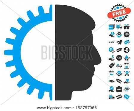 Android Head icon with free bonus symbols. Vector illustration style is flat iconic symbols, blue and gray colors, white background.