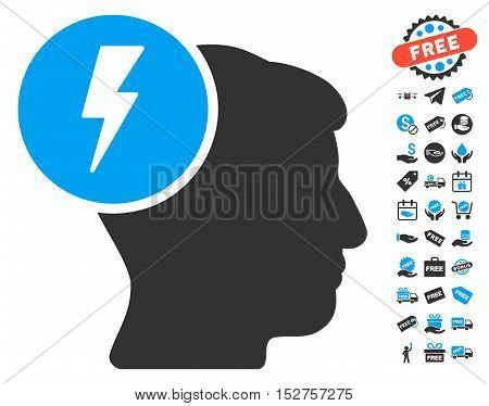 Brain Electricity pictograph with free bonus pictograph collection. Vector illustration style is flat iconic symbols, blue and gray colors, white background.