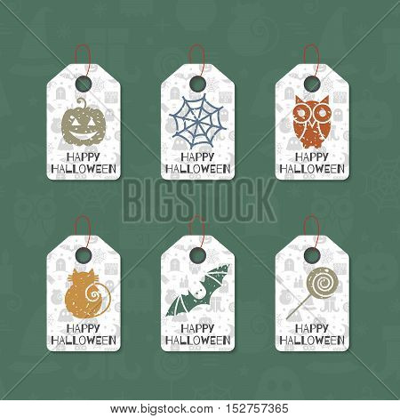 Set of six grunge gift tags for Halloween. Happy Halloween caption. Holiday design template for festive sticker, label, banner, invitation, postcard, card, wrapping and packaging. Vector illustration.