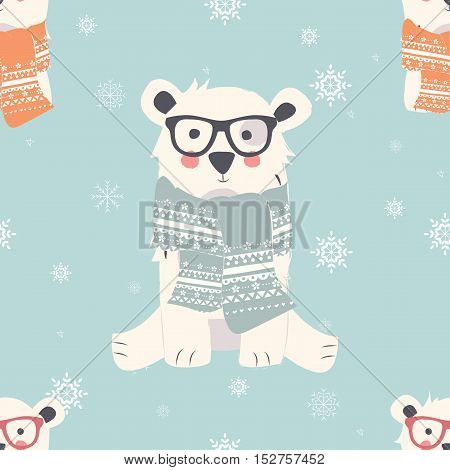 Seamless Merry Christmas patterns with cute polar bear animals vector illustration