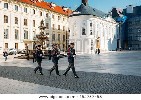 Prague, Czech Republic - October 9, 2014: Ceremony Of Changing The Guards Near Of The Prague Castle