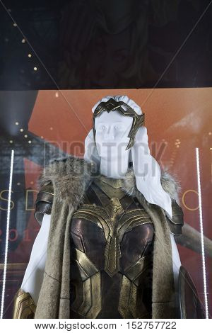 NEW YORK NEW YORK - OCTOBER 9: Costume used by Connie Nielsen as Queen Hippolyta for Wonder Woman movie on display at NY Comic Con at Jacob K. Javits convention center. Taken October 9 2016 in New York.