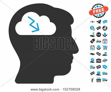 Brainstorming pictograph with free bonus design elements. Vector illustration style is flat iconic symbols, blue and gray colors, white background.