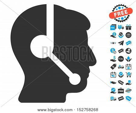 Call Center Operator icon with free bonus pictograph collection. Vector illustration style is flat iconic symbols, blue and gray colors, white background.