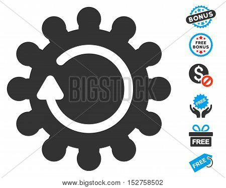 Cog Rotation pictograph with free bonus clip art. Vector illustration style is flat iconic symbols, blue and gray colors, white background.