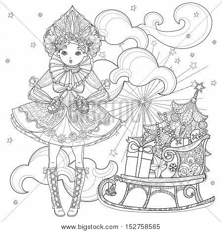 Vector cute fairy gothic lolita girl in nice dress near christmas sledge with gifts. Vector line illustration. Sketch for postcard or print or coloring adult book. Boho style.