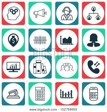 Set Of 16 Universal Editable Icons For Statistics, Human Resources And Seo Topics. Includes Icons Su