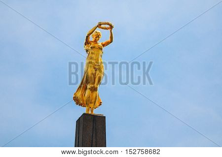 Luxembourg, Luxembourg - June 17, 2015: Monument of Remembrance , Gelle Fra or Golden Lady, is a war memorial in Luxembourg City. Dedicated to Luxembourgers who volunteered for service in armed forces of the Allied Powers during World War I.