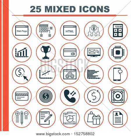 Set Of 25 Universal Editable Icons For Marketing, Education And Travel Topics. Includes Icons Such A