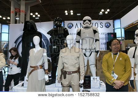 NEW YORK NEW YORK - OCTOBER 9: Star Wars costumes for sale by Anovos Productions at NY Comic Con at Jacob K. Javits convention center. Taken October 9 2016 in New York.