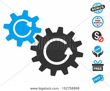 Cogs Rotation icon with free bonus symbols. Vector illustration style is flat iconic symbols, blue and gray colors, white background.