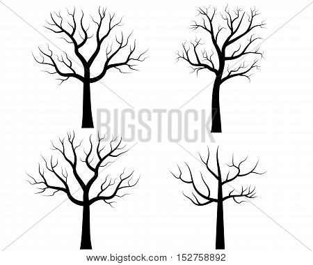 Vector Bare Tree Silhouettes, Trees without leaves