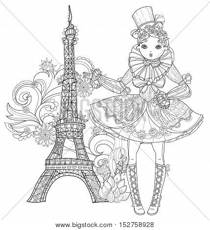 Vector cute fairy gothic lolita girl in nice dress. Vector line illustration. Sketch for postcard or print or coloring adult book. Boho style. Paris eiffel tower.