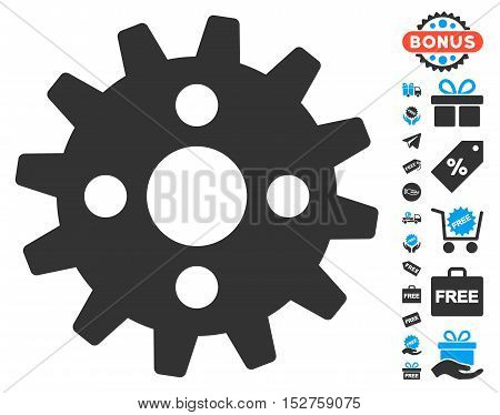 Cogwheel pictograph with free bonus graphic icons. Vector illustration style is flat iconic symbols, blue and gray colors, white background.